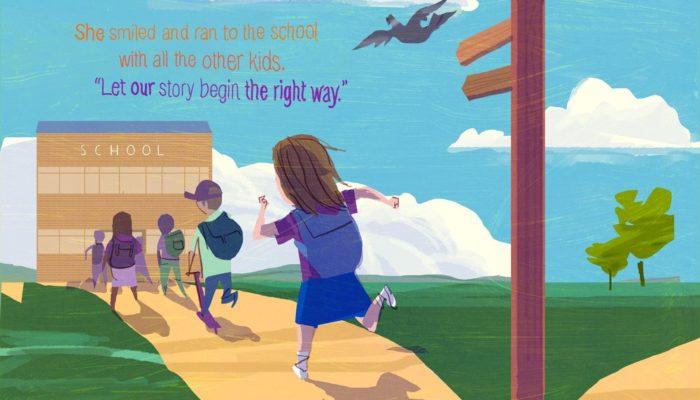 """Sorrise e corse a scuola insieme agli altri bambini. """"Iniziamo la nostra storia nel modo giusto!"""""""