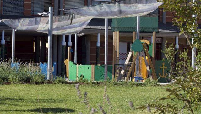 Le vele parasole a protezione dell'area giochi
